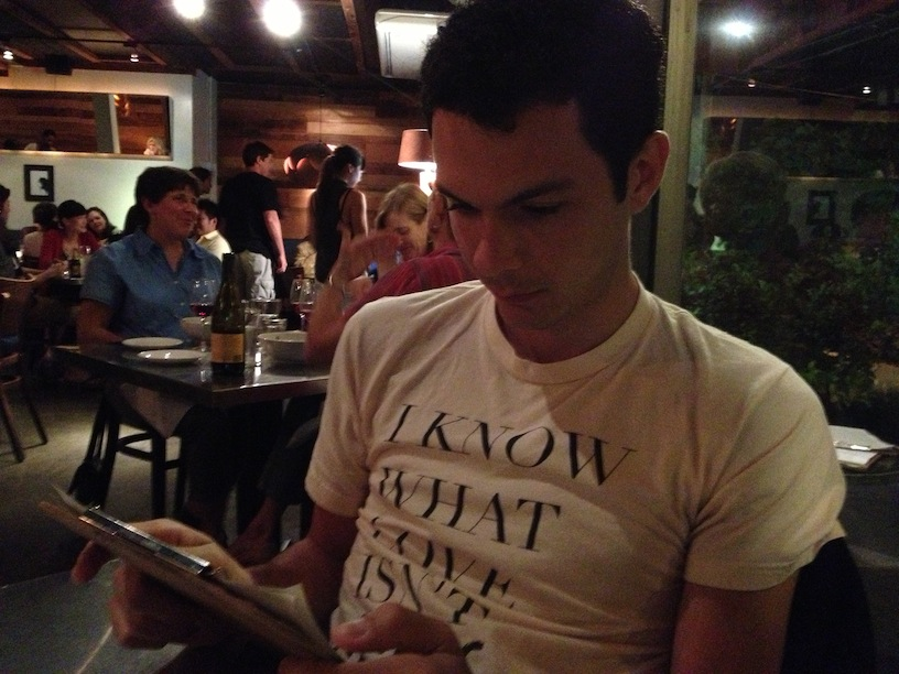 rian ordering food at a restaurant in 2013